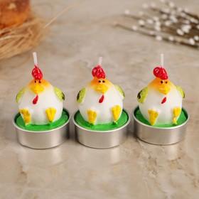 """Набор пасхальных свечей """"Яйцо. Петушок"""", 4×6 см, 3 шт"""