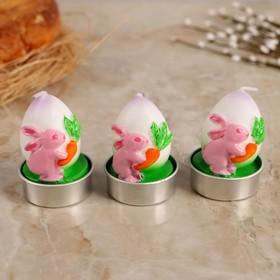 """Набор пасхальных свечей """"Яйцо. Кролик с морковкой"""", 4×6 см, 3 шт"""