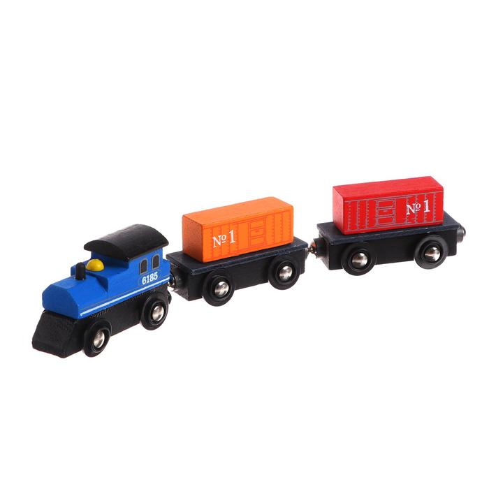"""Детская игрушка для ж/д """"Паровоз + 2 вагона"""" 2,5×8×19 см"""
