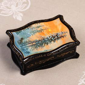 Шкатулка «Пейзаж», 12,5×16,5 см, лаковая миниатюра, микс
