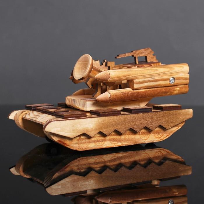 Игрушка деревянная «Танк» 11×20×10 см - фото 726572478