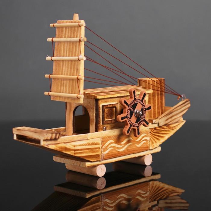 Игрушка деревянная «Корабль» 7.5×27×18 см - фото 105650257
