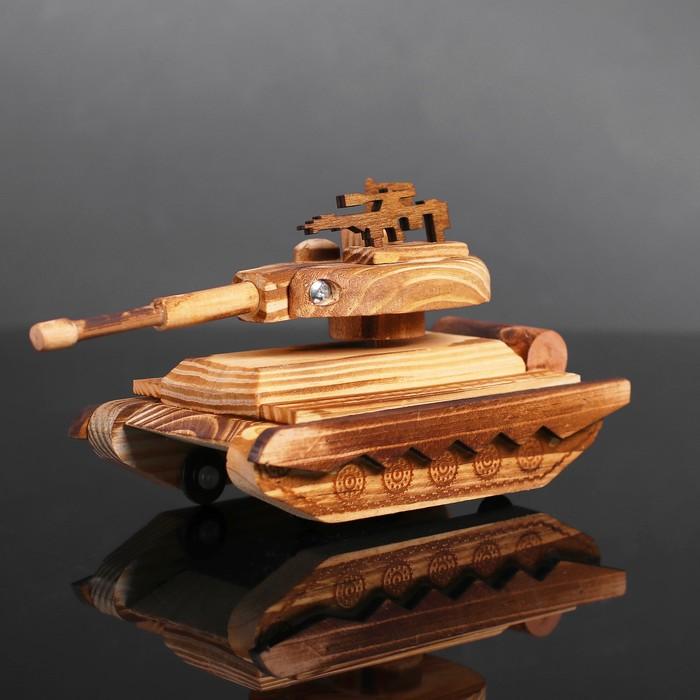 Игрушка деревянная «Танк» 20×10×10 см - фото 728138881