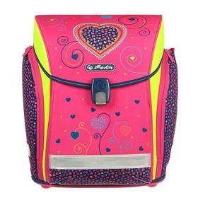 Ранец на замке Herlitz MIDI NEW, 38 х 32 х 26, для девочки, Pink Hearts, сиреневый/розовый