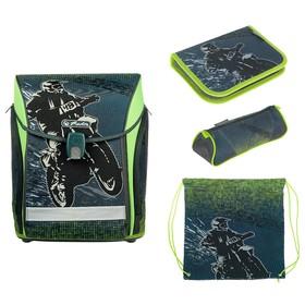 Ранец на замке Herlitz MIDI NEW, 38 х 32 х 26, для мальчика, Motorcross, пенал с наполнением 16 предметов + пенал-косметичка + мешок