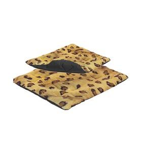 """Подстилка """"Лео"""" стёганая, 85 х 60 х 2,5 см, леопард"""