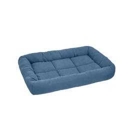 """Лежанка """"Бархатный батут"""" прямоугольная с валиком, 69 х 49 х 8 см, синяя"""