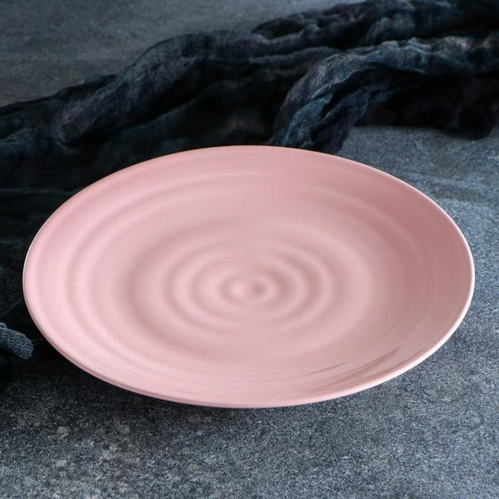 """Тарелка """"Капля"""" 23 см, розовая, 1 сорт"""