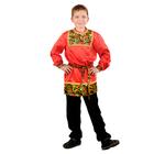 Карнавальная рубаха для мальчика «Рябинушка» с кокеткой, р. 34, рост 134-140 см