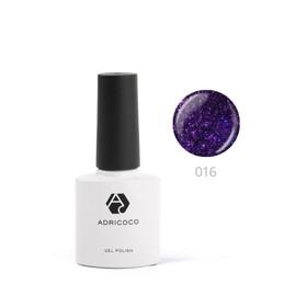 Цветной гель-лак ADRICOCO №016 мерцающий фиолетовый, 8 мл