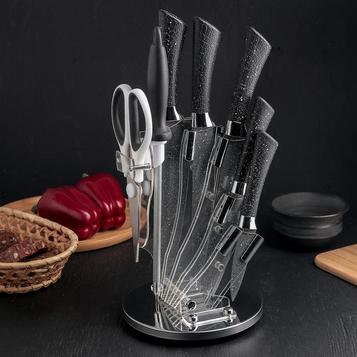 Набор «Dark», 7 предметов: 5 ножей: лезвие 8/12,5/19,5/20/20 см, ножницы, мусат, на подставке