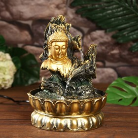 """Фонтан настольный от сети, подсветка """"Лик Будды на коре дерева"""" 28х20х20 см"""