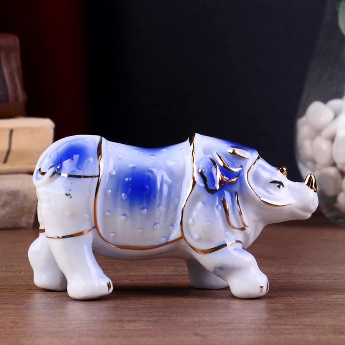 """Сувенир керамика """"Носорог"""" синий 6,5х12,5х4 см"""