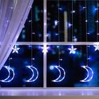 """Гирлянда """"Бахрома"""", 2.7 х 0.9 м, """"Месяц"""", LED-138-220V, 8 режимов, нить прозрачная, свечение белое"""