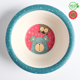 Миска - тарелочка детская из бамбука «Вкусняшки», цвет и рисунок МИКС, 250 мл, 15х15х4
