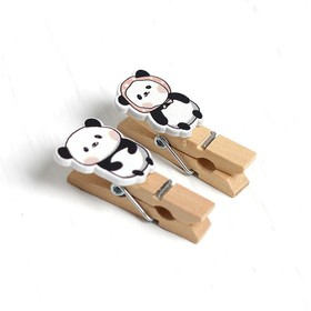 Clothespins with a decorative rope for hanging Panda set 10 PCs