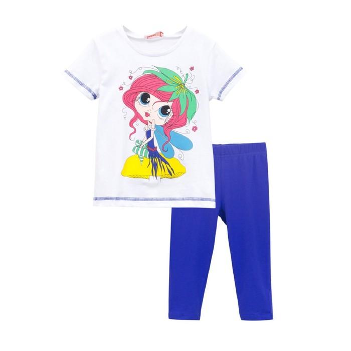 Комплект для девочки (футболка, бриджи), рост 104, цвет белый/черничный