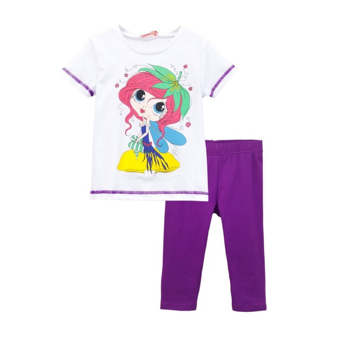 Комплект для девочки (футболка, бриджи), рост 110, цвет белый/тёмно-сиреневый