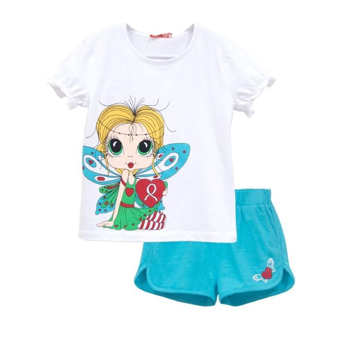 Комплект для девочки (футболка, шорты), рост 104, цвет белый/ярко-бирюзовый
