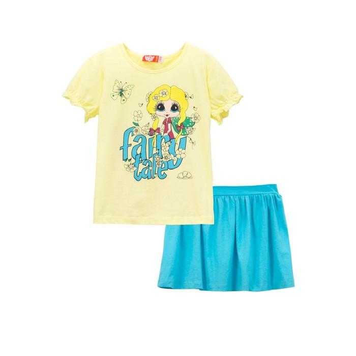 Комплект для девочки (футболка, юбка), рост 104, цвет светло-жёлтый/ярко-бирюзовый