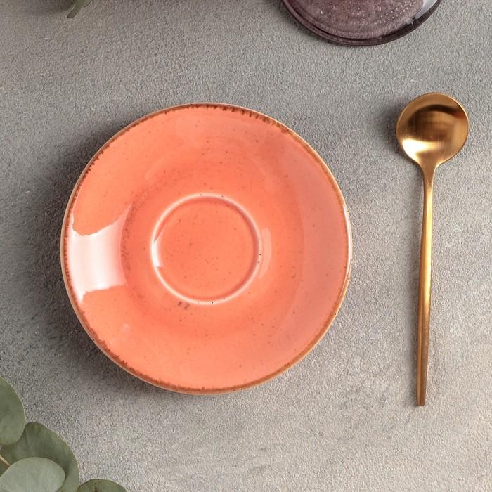 Блюдце для кофейной чашки 12 см, цвет оранжевый - фото 798385019
