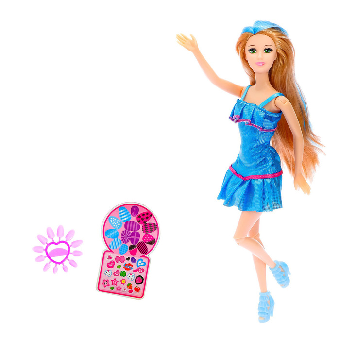 Кукла-модель «Эмма» с наклейками, с аксессуарами, МИКС, в пакете - фото 770819