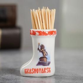 "Souvenir ceramic toothpick in the form of boots ""Krasnoyarsk"" 3.5 x 4 cm"