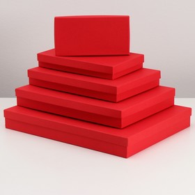 "Set of 5 boxes 1 ""Red stucco"", 40 x 30 x 5 - 20 x 10 x 3 cm"