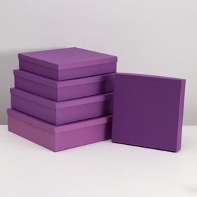 """Set of 5 boxes in the 1 """"Purple canvas"""" 34 x 34 x 9 26 x 26 x 5 cm"""