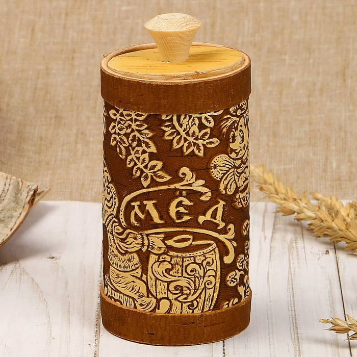 Туесок «Мёд», 6×6×11см, микс, береста