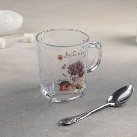 """Mug with spoon """"Lavender"""" 250 ml, the picture of a lavender MIX"""