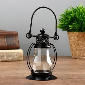 """Подсвечник металл, стекло на 1 свечу """"Пузатый фонарик"""" 9,2х6,2х5,8 см"""