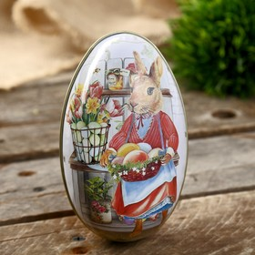 "Шкатулка металл яйцо ""Зайка-хозяйка с корзинкой яиц"" 11х6,5х7 см"