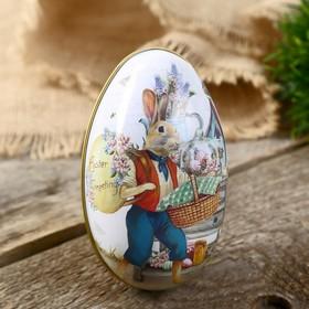 "Шкатулка металл яйцо ""Заяц с пасхальной корзиной"" 11х6,5х7 см"