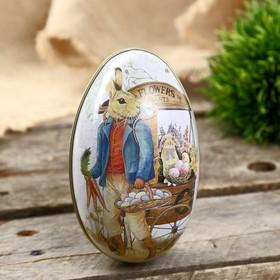 """Шкатулка металл яйцо """"Заяц с корзиной крашенных яиц"""" 11х6,5х7 см"""