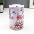 "Piggy Bank metal ""Flamingo flowers Paris"" MIX 12х8х8 cm"