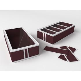 Короб для обуви на 4 ячейки «Классик бордо», 26х52х12 см