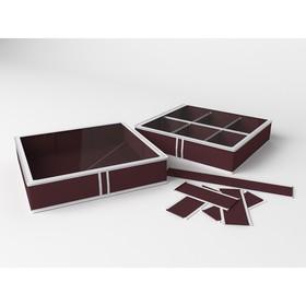 Короб для обуви на 6 ячеек «Классик бордо», 56х52х12 см