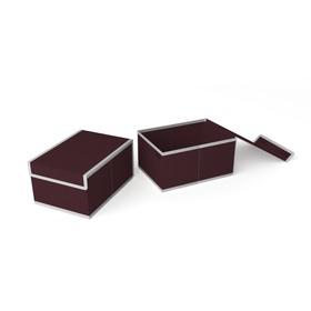 Короб для хранения жёсткий «Классик бордо», 20х27х14 см