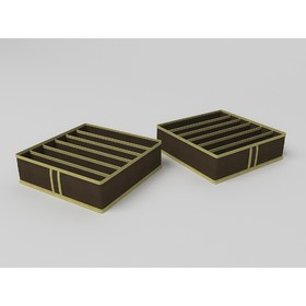 Кофр для бюстгальтеров «Классик коричневый», 6 ячеек, 35х35х10 см