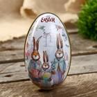 "Box metal egg ""Family rabbits"" 11х6,5x7 cm"