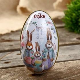 "Шкатулка металл яйцо ""Семья кроликов"" 11х6,5х7 см"