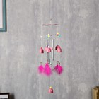 """The music of the wind plastic """"hearts on the umbrella"""" 6 bells + 4 tubes + feathers 56х8 cm"""