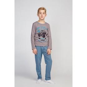 Пижама для мальчиков, цвет серый/клетка, рост 98-104 см