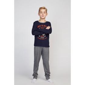 Пижама для мальчиков, тёмно-синий/клетка, рост 98-104 см