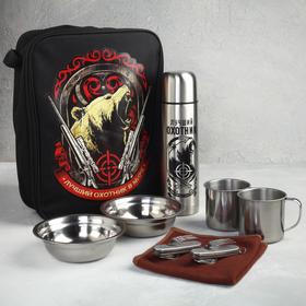 Набор посуды «Лучший охотник в мире»: термос 0.5 л, тарелка 300 мл, 2 шт., кружка 200 мл, 2 шт., мультитул 2 шт.