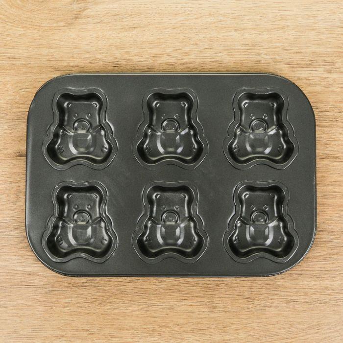 "Форма для выпечки с а/п покрытием ""Медведь"" 6 ячеек 26х17х2 см"