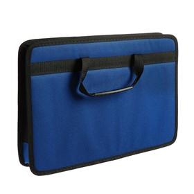 Папка с ручками каркасная, текстиль, А4, 50 мм, 350 х 260 мм, «Луга», синий
