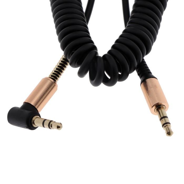 Кабель аудио LuazON, AUX, Jack 3.5 (m)-Jack 3.5 (m), угловой разъём, вид пружина, черный