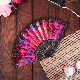 """Fan plastic """"Flowers holography with lace"""" MIX 24 cm"""